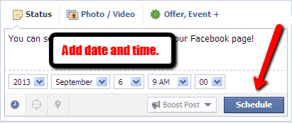 Click on the Facebook clock to schedule your post