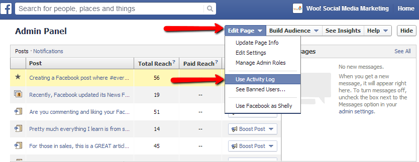 See scheduled Facebook posts